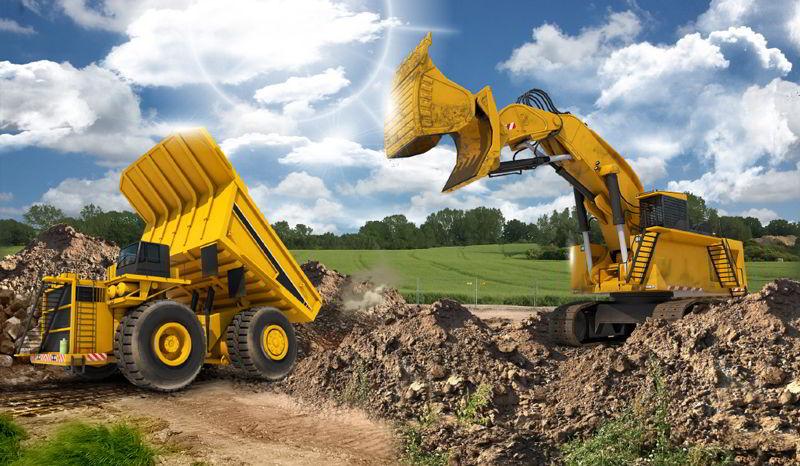 Caminhão e Escavadeira Gigantes